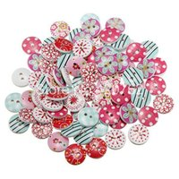 Wholesale 80Pcs Mixed Holes Round Pattern Wooden Buttons Sewing Scrapbooking mm DIY New Sewing Accessories Button A2
