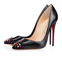 Wholesale 2015 Hottest Model Super Coloful Candy type Leather Black Rivet High heels For Social Butterly Party Queen