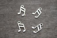 antique notes - 60pcs Music note Charms Antique Tibetan Silver Tone Treble Clef charm pendants musical charm x14mm