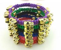 Wholesale Woven Skull Heads Bracelet fashion Bead Jewelry Chain gold Bracelet