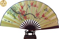 bamboo craft supplies - Decorative Large Bamboo Silk Hand Held Folding Fans Chinese style Crafts Christmas Birthday Business Gift Fan