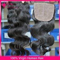 Cheap Body Wave Brazilian 4*4 Silk Top Closure Bleached Knots Hair Closure Pieces Invisible Wavy Virgin Hair Silk Base Closure With Baby Hair