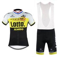 Wholesale Lotto Jumbo Cycling Jersey Sets Short Sleeve Padded Bib None Bib Pants Black Yellow Cycling Clothing For Men Close Fitting Suit XS XL