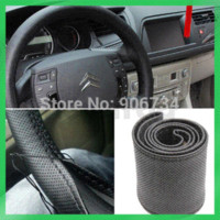 Wholesale Hot Selling Popular New Black DIY Car Genuine Leather Steering Wheel Cover With Hole Size M M10575