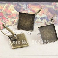 beautiful ring settings - Ship Free pieces mm beautiful Bronze Tone square Cameo Settings Earring Clips