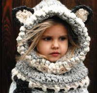 baby acrylic yarn - 100pcs DHL Handmade Knitted Cape Hat Winter Windproof Baby Fox Ear Hats And Scarf Set For Kids Boys Girls Shapka Children Headgear