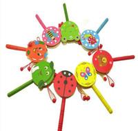 wood flower - 2015 Kids Boys Girls Hand Rattles Drum Toys Butterfly Bear Flower Noisemaker Bells Shake Wood Sharking Drums Kids Children Wooden Toy D3772