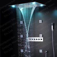 bathtub showers - China factory rain led shower heads remote control color shower kit with high flow shower faucet and brass spray