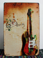 metal wall art decor - new Vintage Tin sign Retro Metal Painting Guitar Picture Signs Wall Pub Tavern Garage Home Decor Art Mural Tin Sheet Metal Sign Vintage