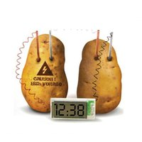 Wholesale 2015 New Creative Material Conversion Power Supply LCD Potato Clock with No Mess Holder
