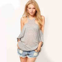 off the shoulder tops - Grey White Black Sexy Women T shirt Creative Hollow Loose Tanks Off The Shoulder Backless Summer Women Casual Tops Cheap Cotton T shirt