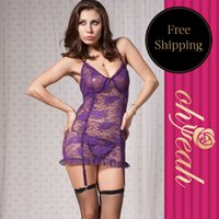 baby doll negligee - R7296 Hot sale plus size lace negligee new style purple black langerie sexy erotic XL XL women baby doll sexy lingerie