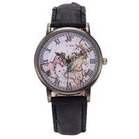 attractive world - Attractive Classic Fashion Retro Unisex Men Women Watch World Map Design Analog Quartz Watch AG14