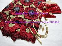 Wholesale Lace fabric shoes and bags jewelry sets perfect matchings for wedding and party LSJ245 with free shhipping
