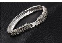 lobster claw - Silver Gold Tone Wedding Engagement Bridal Bracelets Black Swarovski Crystal Beads Wedding Jewellery