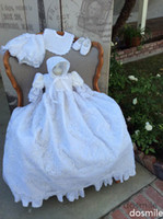 Wholesale Elegant New Baby Infant Christening Gown Baptism Dress Gown Short Sleeves Lace Applique White Ivory