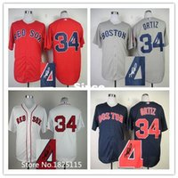 Wholesale 30 Teams Mens Boston Red Sox Jersey Signature Edition David Ortiz Blue White Red Gray Cool Base Baseball Jersey Embroidery Logos