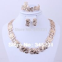 Cheap Wholesale-Free shipping 2015 fashion high quality african costume jewelry Gold plated rhinestone jewelry sets