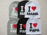 baby papa - Lovely Cute baby beanie hat cap for boy girl many colors i love mama i love papa