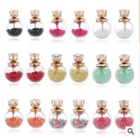 Wholesale 20 colors Summer Style Glass Stud Earring diamond earrings Pearl Fine Jewelry Fashion Transparent Crystal Ball earrings jewelry m468