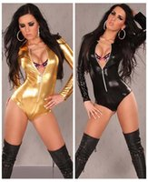 Wholesale Black Gold Leather Lingerie Sexy Body Suits for Women PVC Erotic Leotard Costumes Latex Catsuit women leather dresses