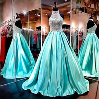 high low prom dresses - High Neck Ball Gowns Prom Dresses Sheer Sleeveless Low Back Real Pictures Wedding Formal Gowns with Beading Crystals Rhinestones
