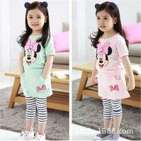 Wholesale Hot sale baby girl strip minnie mouse clothes set Children s clothing suit summer girls shirt culottes suit