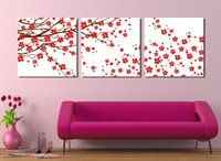Wholesale 3 Piece Wall Art picture Pure hand painted paintings red of fresh flowers on tree so cute Wall Picture Home Decor Modern Pi