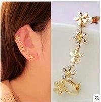 clip on earrings - EY460 new fashion No pierced ear clip inlaid flowers Plum imitation diamond earrings Jewelry