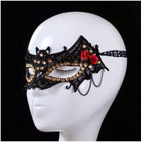 halloween supplies - Exquisite Lace Crystals Masquerade Masks Festive Party Supplies Halloween Dance Masks Black Bat Half Face Masks for Women