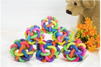 Wholesale 2015 Newest pieces Colorful Bell Ball Pet Rainbow Colored Ball Ball Knitting Audible Ball Dog Toy Rubber Balls