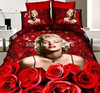Cheap High Quality queen size marilyn monroe bedding 3d king bedding sets Reactive Printing Bedclothes Duvet Covers Sheets Set
