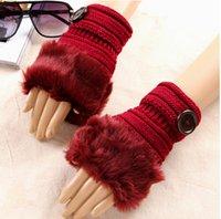 Wholesale New Womens Cute Faux Rabbit Fur Hand Wrist Winter Warmer Knitted Fingerless Gloves Mitten ST945