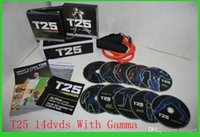 Cheap t25 Workout Shaun T Focus Fitness Tutorial T25 14 DVD Workout Alpha Beta Core With Resistance Band hottest Factory Sealed Free DHL Shipping
