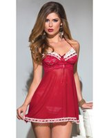 adult doll dresses - Erotic Adult Lingerie Sexy Underwear For Womens Baby Dolls Scalloped Lace and Mesh Halter Red Babydoll Dress Nightwear Sleepwear