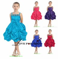 girls knee length pageant dresses - 2015 Spring Girl s Pageant Dresses With Straps Sleeveless Zipper Sartin Knee Length Red Orange Blue Purple Black Short Party Gowns WH032901