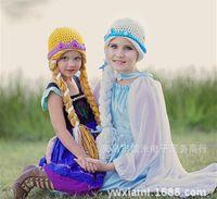 Wholesale New Children s Gifts Princess Frozen Anna and Queen Elsa Crochet Knit Hats with Hair Braids Frozen Girls Dream hat Winter Warm Caps