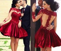 Wholesale Illusion Neck Long Sleeves Party Dresses Sheer Back A Line Short Mini Prom Dresses Blood Red Cocktail Graduation Dresses with Appliques