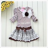 Wholesale 2015 Girl Princess Dress Children Girls Stripe Lace Dress Baby Kids Clothing Set