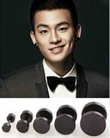 black stainless steel studs - Latest Design Black and Sliver L Stainless Steel Round Dumbbell Stud Earrings for Men