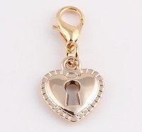Wholesale High Quality Gold Heart Dangle Charms Pendant with Lobster clasp for Floating Locket Jewelry Making