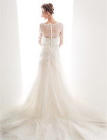 anne queen - A Wedding Dress A Line Court Train Lace And Tulle Queen Anne Neckline Bridal Gown With Sash Sheer Backless Wedding Dresses new sleeves