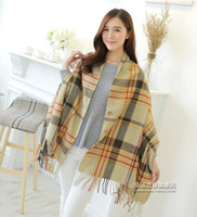 Wholesale Woman Autumn winter Thick cashmere shawl plaid three button warmer scarf Dual Fringed Scarves cm
