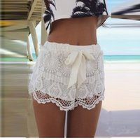Wholesale Solid Color Summer Fashion New Women Girl Lace Hem Crochet Chiffon Belt Beach Shorts Dropshipping