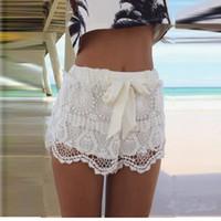 Wholesale Solid Color Summer Fashion New Women Girl Lace Hem Crochet Chiffon Belt Beach Shorts Dropshipping