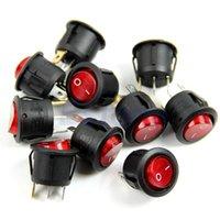Wholesale 10PCS AC A V Red Light ON OFF SPST Round Button Dot Boat Car Auto Rocker Switch