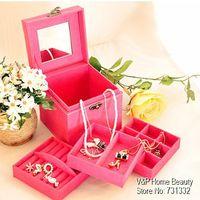 cosmetic storage box - 3 Layer casket Jewelry organizer Vintage Makeup storage box Cosmetic organizer box Girl favor gift Zakka Novelty households