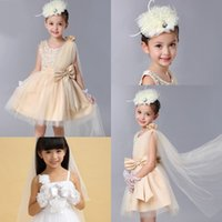 Wholesale Flower Girl Dresses For Wedding Girls Head Pieces Girl wedding Gloves Bow Beads Flowers Pageant Dresses For Girls Knee Length Accessories