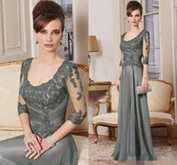 water beads for wedding - 2016 Green Mother of the Bride Dresses Long Sleeves Groom Suits Chiffon Evening Gowns Appliques Plus Size Wedding Dress For Women