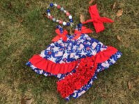 Wholesale 2015 new design baby girl star th of July swing to set with matching headband and necklace